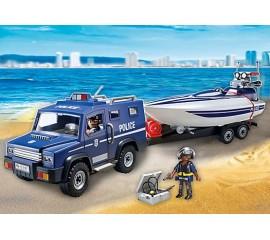 Camion De Politie Cu Barca