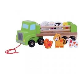 Camion din lemn cu animale Ferma - Sun Baby