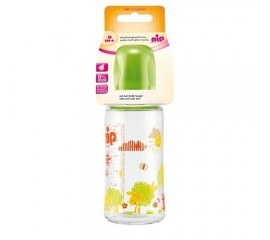 Biberon sticla cu gat larg, 240 ml, tetina silicon pt lapte, nr 1, nip