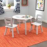 Masuta rotunda cu spatiu de depozitare si 2 scaunele - Gray & White