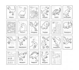 Carte de colorat cu activitati in engleza si abtibilduri Dinozaur