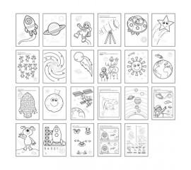Carte de colorat cu activitati in engleza si abtibilduri In Spatiu