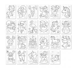 Carte de colorat in limba engleza Unicorni, Sirene si Altele