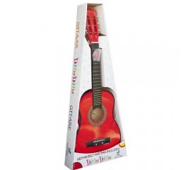 Chitara lemn copii rosie, profesionala - Chitara lemn 72 cm