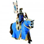 Figurina Cavaler cu cal pentru turnir imbracat in albastru
