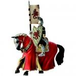 Figurina Cavaler cu cal pentru turnir imbracat in rosu