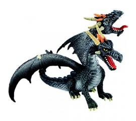 Figurina Dragon negru cu 2 capete