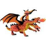 Figurina Dragon portocaliu, orange cu 3 capete