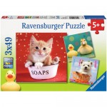 Puzzle Animale Adorabile, 3x49 Piese