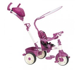 Tricicleta sport 4 in 1 roz cu alb - Little Tikes